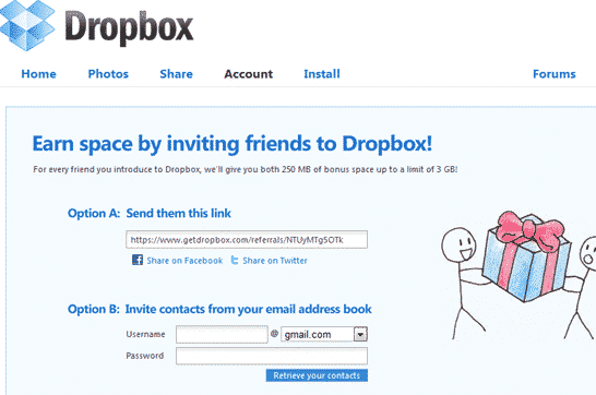 Growth Hacking voorbeeld van Dropbox-hack