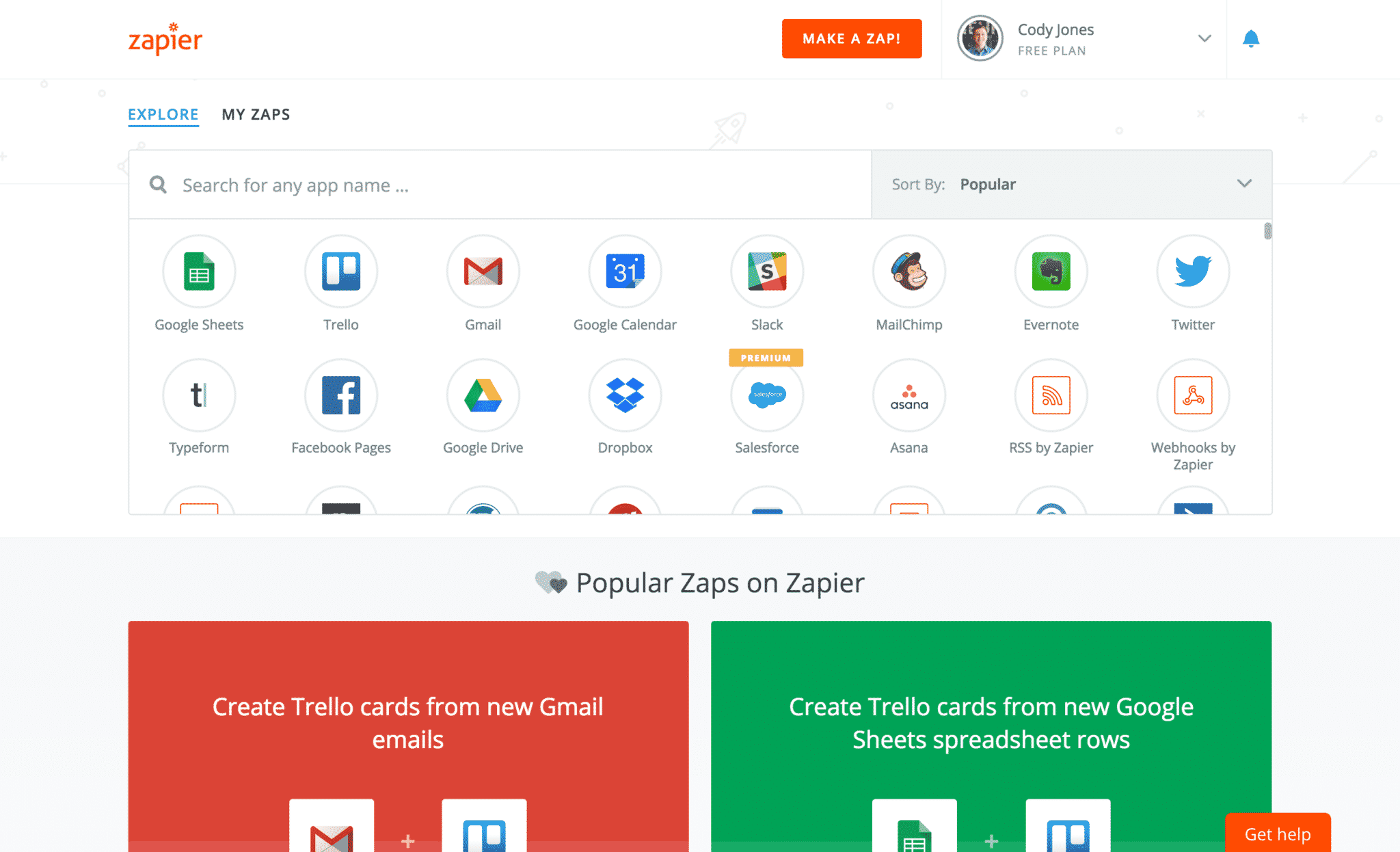 Zapier tool to connect different growth hacking tools