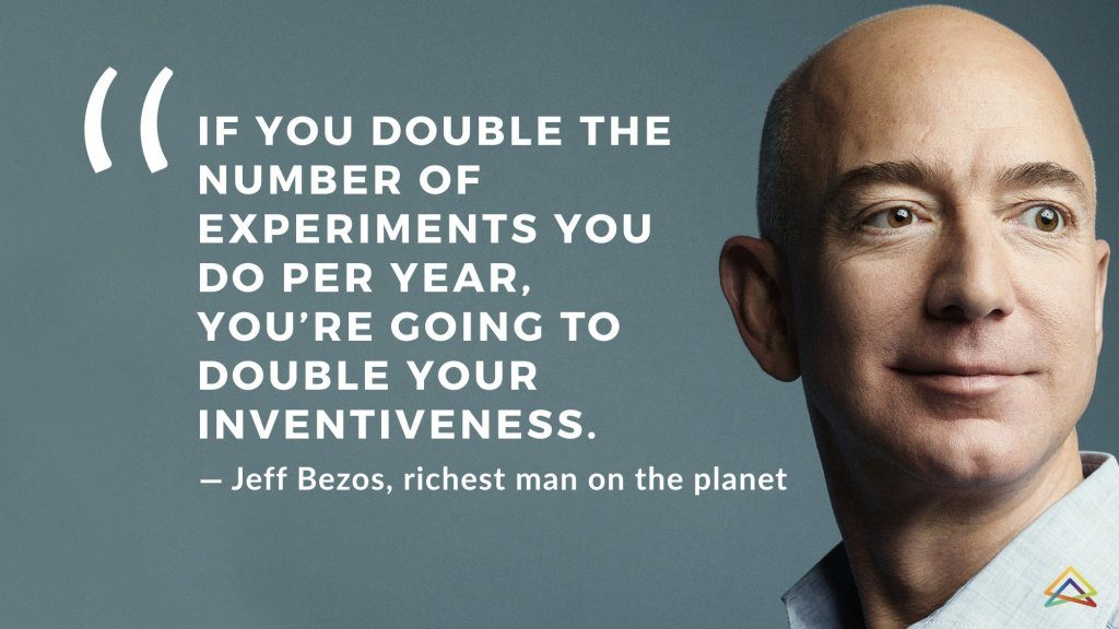 Jeff Bezos Quote If You double the number of experiments you do per year you're going to double your inventiveness. Growth mindset