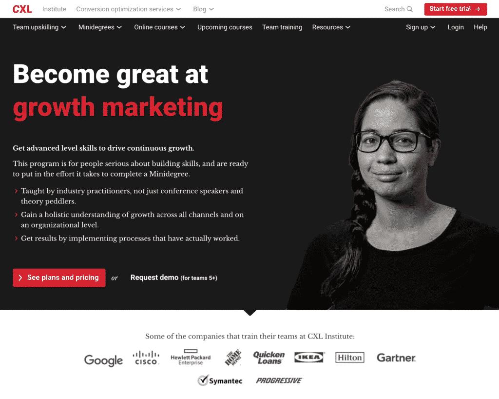 Screenshot CXL Growth Marketing Minidegree online course