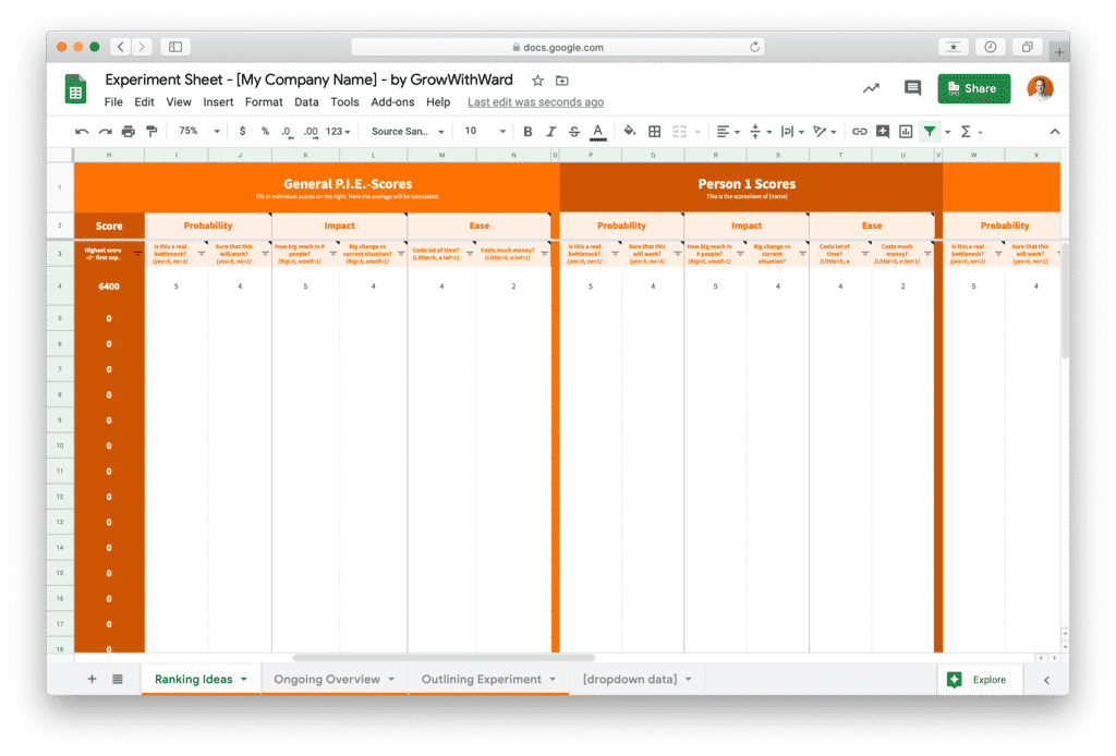 Preview of ranking growth experiment sheet