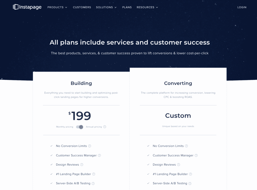2019 Pricing Plans Instapage