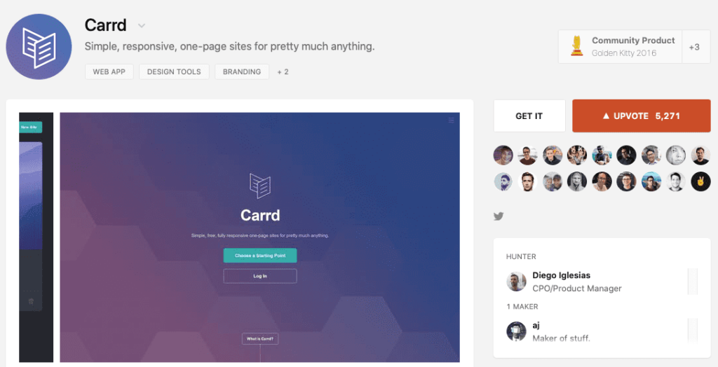 Landing Page Carrd Software Launch on ProductHunt